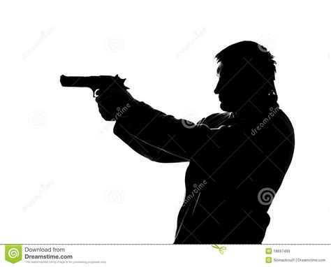 silhouette of shooting man royalty free stock images