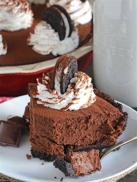 Rte Chococrust Oreo no bake chocolate pie with oreo crust peas and peonies