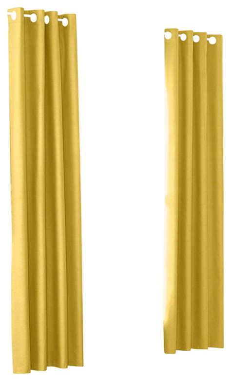 Yellow Linen Curtains Yellow Woven Linen Custom Grommet Drapery Single Panel Modern Curtains By Loom Decor