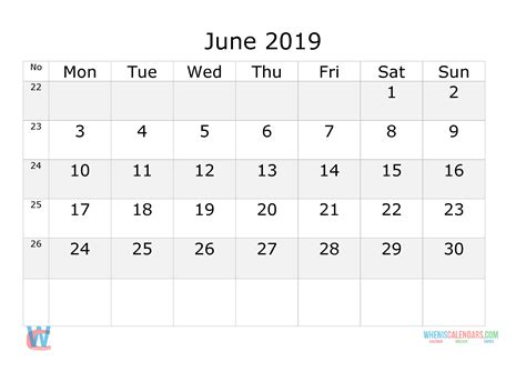 june  printable calendar  week numbers monday