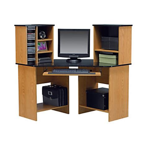 corner computer desk office depot altra furniture laminate corner computer desk 47 1316 h x 42 w x 42 716 d oak by office depot