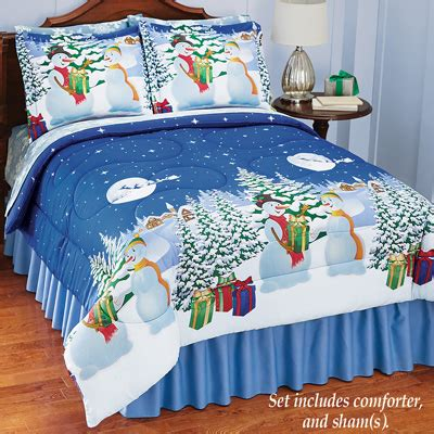 snowman reversible christmas comforter set from