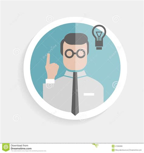 icon design research vector round paper icon researcher successful man stock