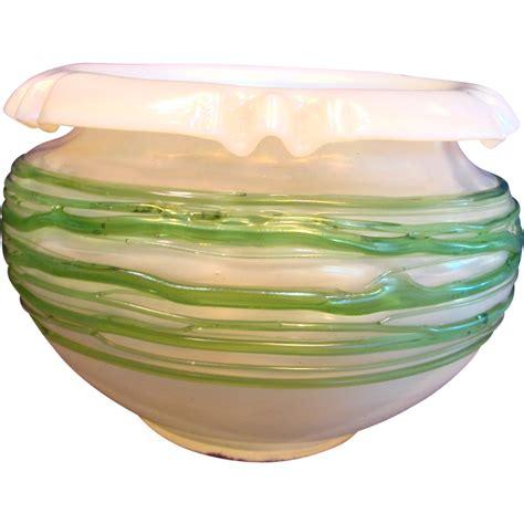 Iridescent Vase English Art Glass Bowl Vase Iridescent Opal White W
