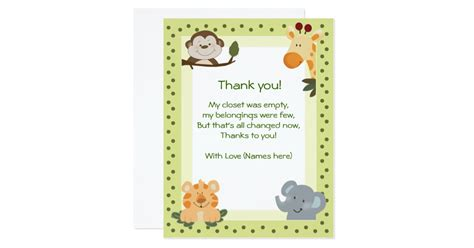 Baby Shower Thank You Cards by Jungle Safari Animals Baby Shower Thank You Notes Card