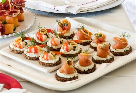 canape s smoked salmon prawn canap 233 s recipe foodiful
