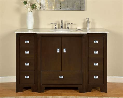 55 inch single sink bathroom vanity in walnut
