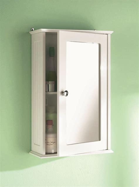 wall mounted white 1 door single mirror wooden bathroom