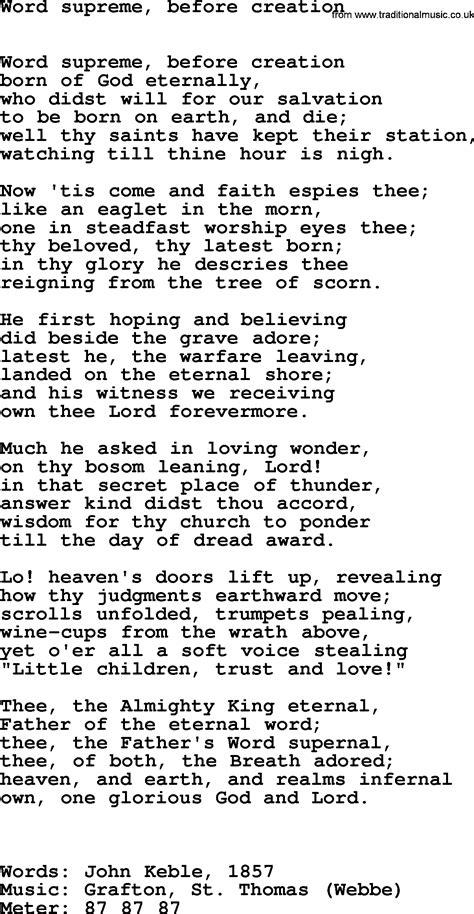 supreme lyrics hymns ancient and modern song word supreme before