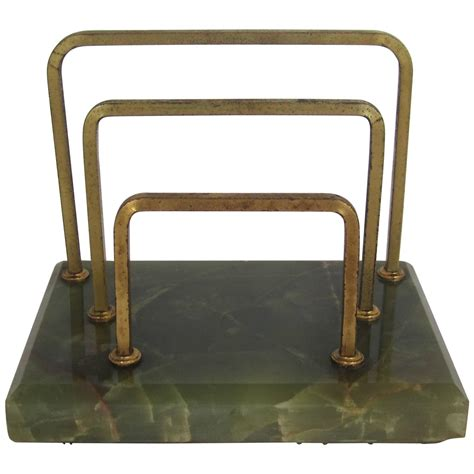 mail desk organizer vintage brass and green onyx mail or letter desk organizer