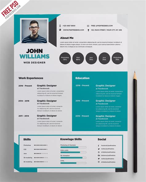 Creative Free Resume Templates by Free Creative Resume Template Psd Psdfreebies