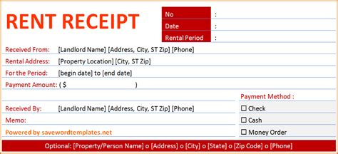 template for rent receipt 8 rent receipt template authorizationletters org