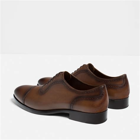 leather oxford shoes zara brogued leather oxford shoes in brown for lyst