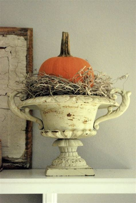 decorated cooking urn pumpkin in a chippy urn love this d automne