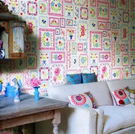 Patchwork Wallpaper - pin patchwork behang pink on
