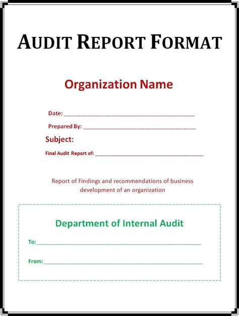 Report Templates Free Word S Templates Audit Report Template
