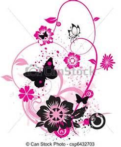 Butterflies Wall Stickers vectores de flores mariposas rosa c 237 rculos csp6432703