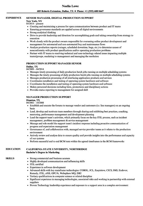manager production support resume sles velvet