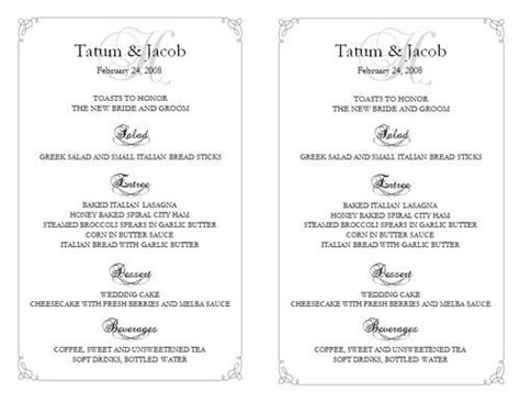 wedding reception menu template 25 best ideas about free menu templates on