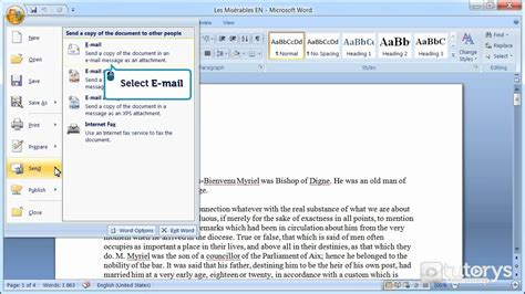 how do i section someone how to send a document via email with word 2007 youtube