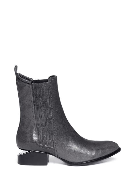 grey leather boots wang anouck cutout heel leather boots in gray grey lyst