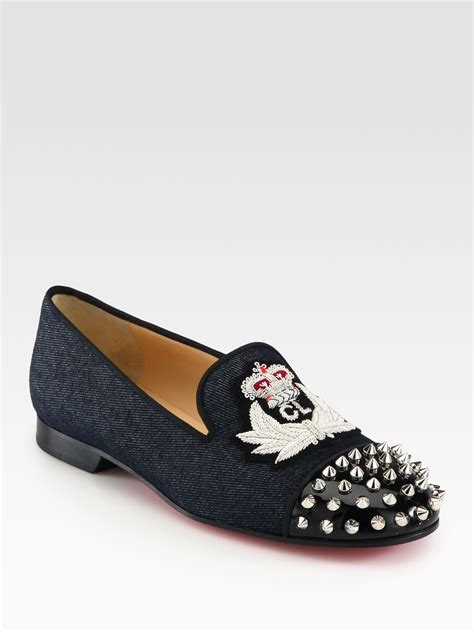 louboutin loafers christian louboutin intern spiked denim patent leather