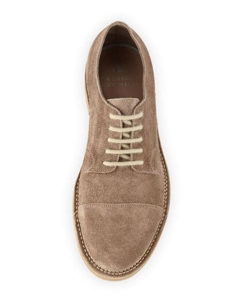 Flat Shoes Burberry 5153 928 brunello cucinelli cap toe suede lace up shoe in brown for