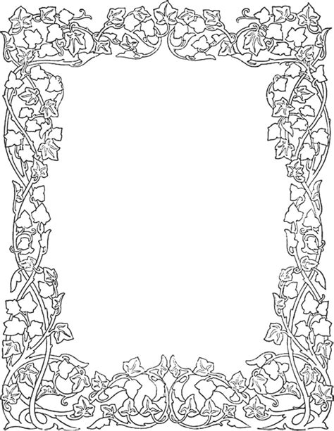ivy joy coloring pages vintage floral border coloring pages