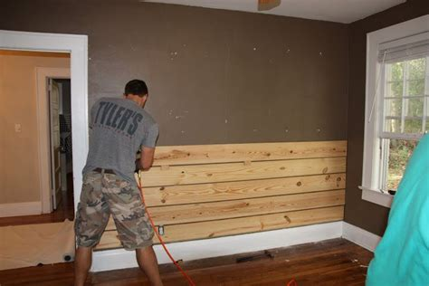 pine boards on one wall behind bed carter s cabin bedroom pinte