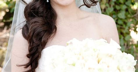 side ponytail wedding hairstyles with veil side ponytail with curls chapel length veil
