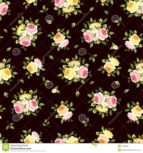english rose pattern vector seamless pattern with pink orange and yellow roses on