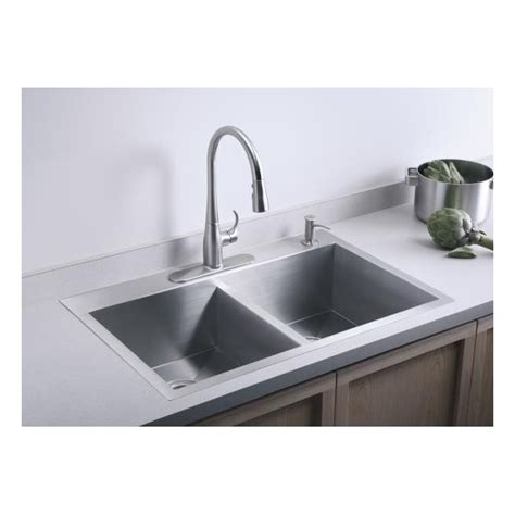 inset kitchen sinks kohler vault double equal 838mm x 559mm brushed steel