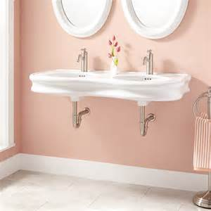 double bowl bathroom sink 46 quot adler double bowl porcelain wall mount bathroom sink