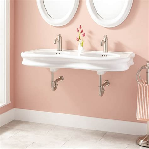 46 quot adler double bowl porcelain wall mount bathroom sink