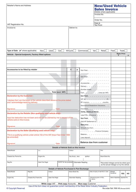 rmi   vehicle sales invoice pad rmi webshop