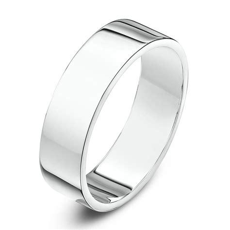 9kt white gold heavy flat 5mm wedding ring