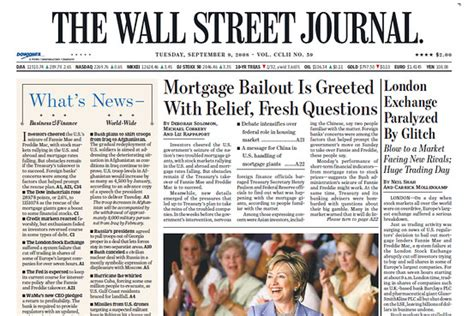 wall street journal real estate section this day in crisis history sept 9 2008 moneybeat wsj