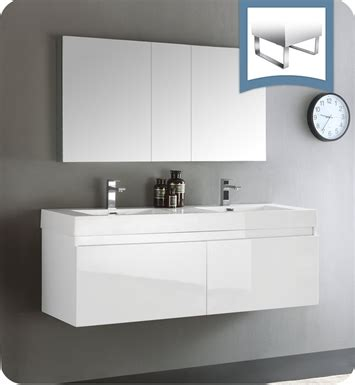 fresca fvn8042wh mezzo 59 quot white wall hung sink