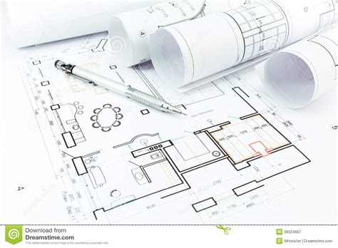 construction plans home construction plans and pencil stock image image