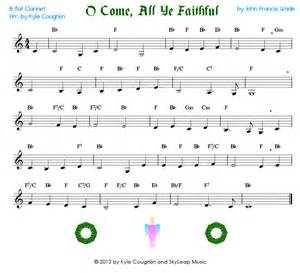 Come all ye faithful for the clarinet free printable pdf sheet