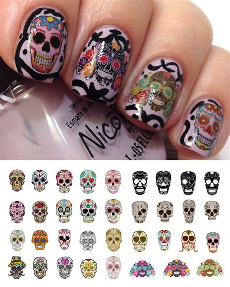 Nail Decals by Sugar Skull Nail Day Of The Dead Decals