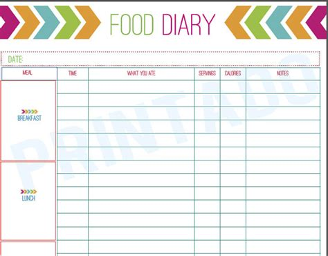 keeping a food diary template try these 10 tips to prevent weight gain
