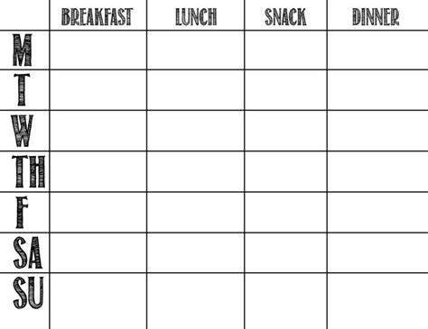 menu chart template a feteful menu planning ah finally a template that actually looks eat me