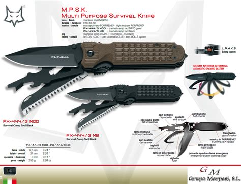 multi purpose survival knife fx 444 3 mod mpsk multi purpose survival knife fox