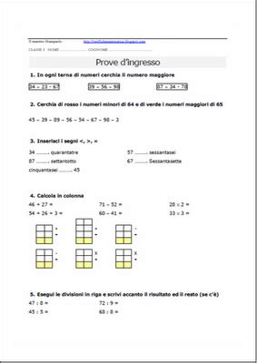 prove ingresso seconda media matematica verifiche matematica scuola primaria prova d ingresso