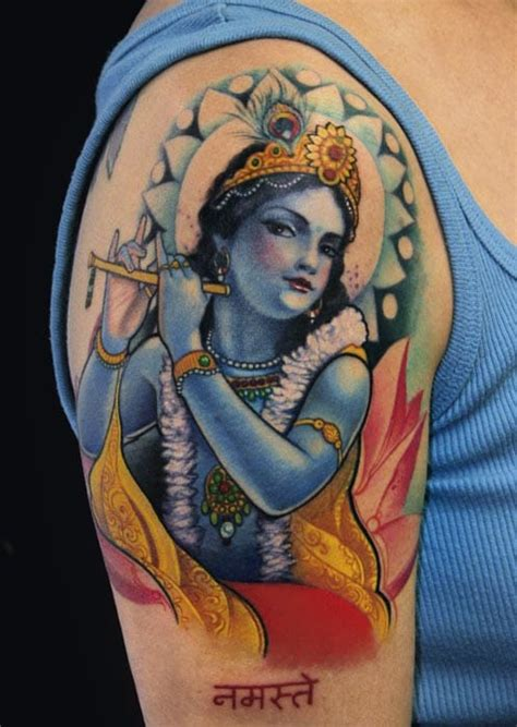 krishna tattoo photo 40 vivid hindu inspired tattoos tattoodo