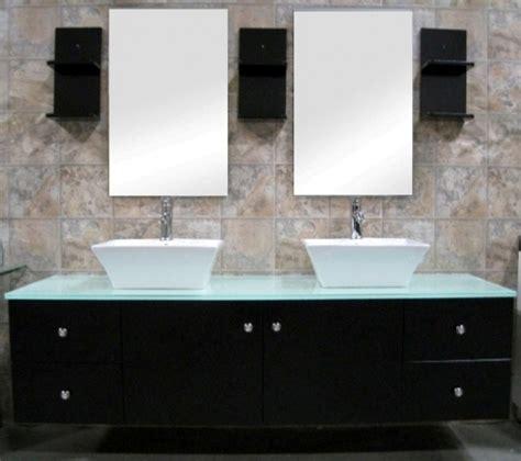 61 Inch Modern Double Ceramic Vessel Sink Bathroom Vanity