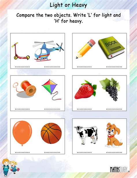 heavy and light worksheets for grade 1 comparison between light and heavy math worksheets