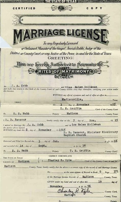 Cobb County Marriage Records Search County Tx Usgenweb Archives