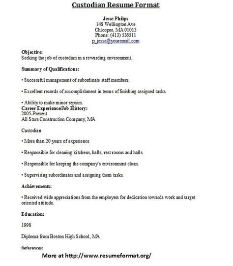 Custodian Resume by Janitor Resume Sle Template Learnhowtoloseweight Net